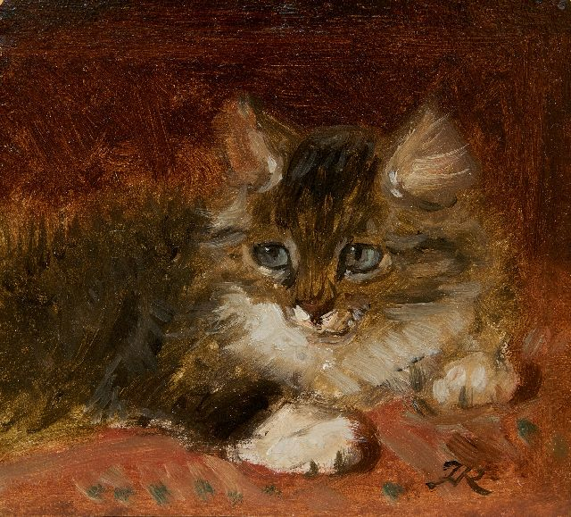 Henriette Ronner-Knip | A kitten, oil on paper laid down on panel, 12.2 x 12.7 cm, signed l.r. with monogram