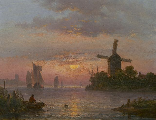 Lodewijk Johannes Kleijn | A Dutch river landscape at sunset, oil on panel, 21.2 x 27.4 cm
