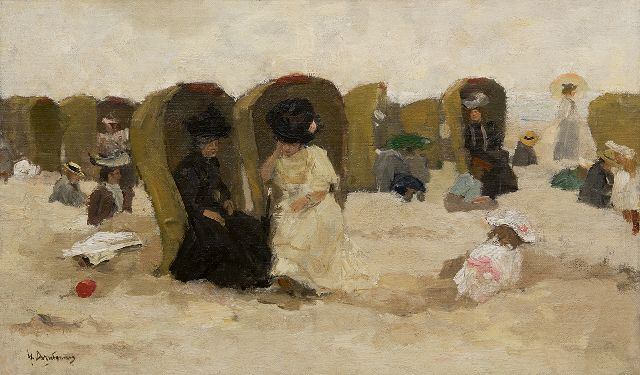 Floris Arntzenius | On the beach of Scheveningen, oil on canvas laid down on panel, 31.6 x 51.5 cm, signed l.l.