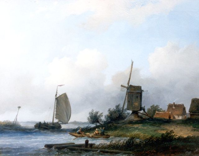 Johannes Hilverdink | A river landscape, oil on panel, 23.9 x 30.8 cm, signed l.r.