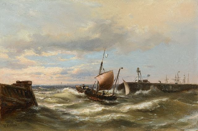 Hermanus Koekkoek jr. | Entering the harbour with a strong breeze, oil on panel, 30.3 x 45.7 cm, signed l.l.