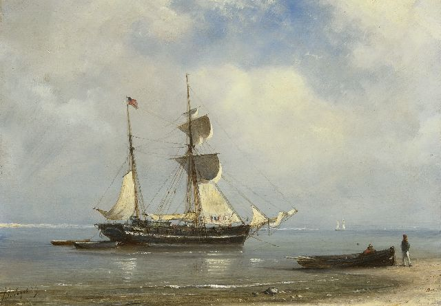 Petrus Paulus Schiedges | A sailing ship achored in a calm sea, oil on panel, 24.6 x 34.1 cm, signed l.l. and dated '59