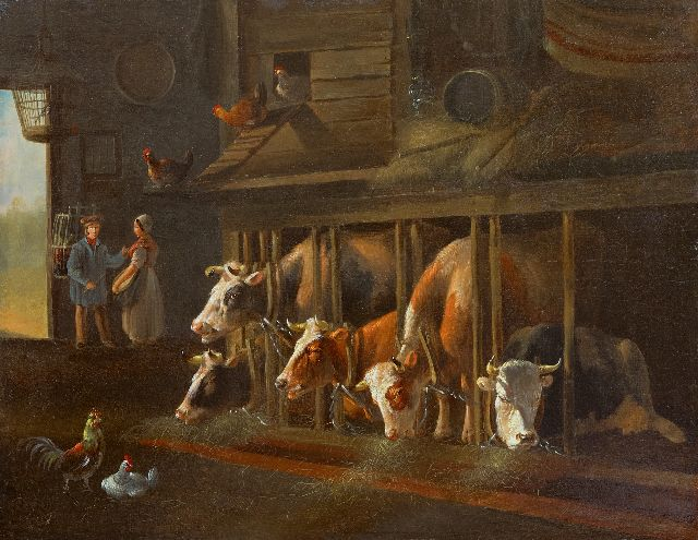 Albertus Verhoesen | A barn interior, oil on panel, 36.7 x 47.6 cm, signed l.r.