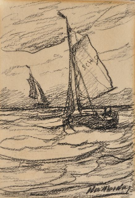 Hendrik Willem Mesdag | Fishing boats at sea, charcoal on paper, 19.5 x 13.5 cm, signed l.r.