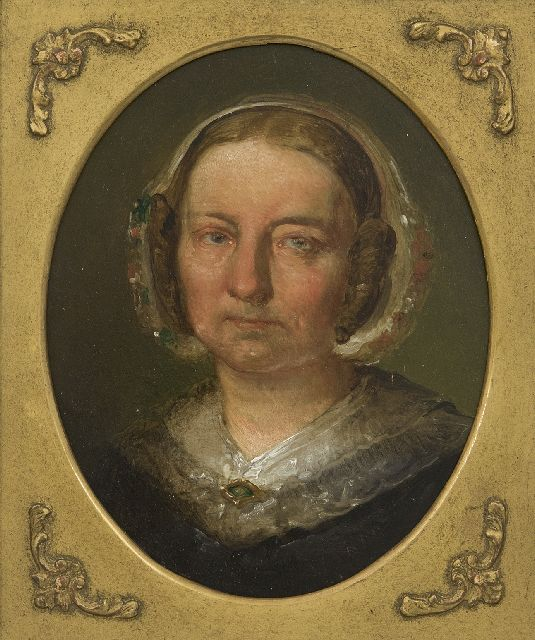 Jacob Maris | A portrait of the painter's mother, oil on panel, 21.4 x 17.1 cm