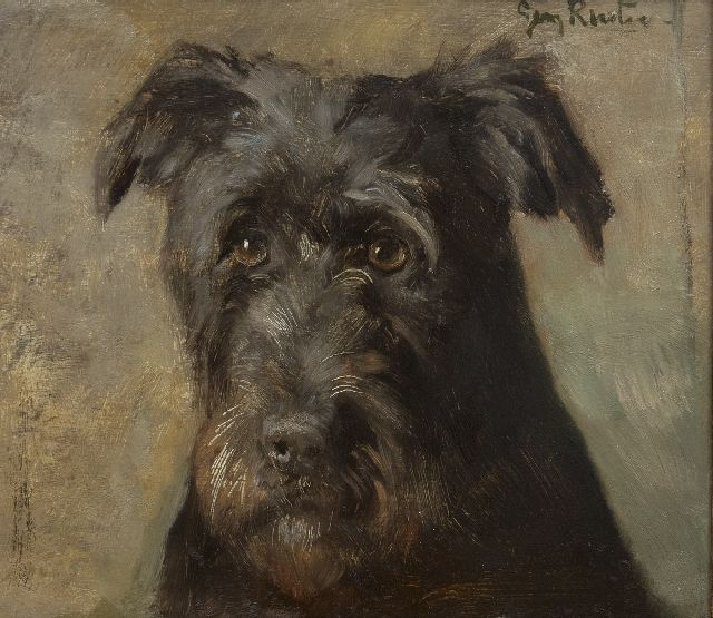 Georg Rueter | Portrait of a dog, oil on panel, 26.1 x 30.2 cm, signed u.r.