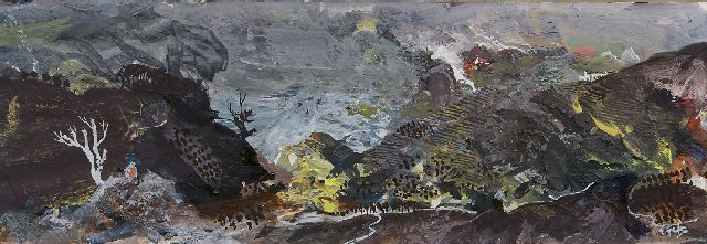 Eyck Ch.H.  | A hilly landscape, gouache on paper 12.7 x 35.6 cm, signed l.r.