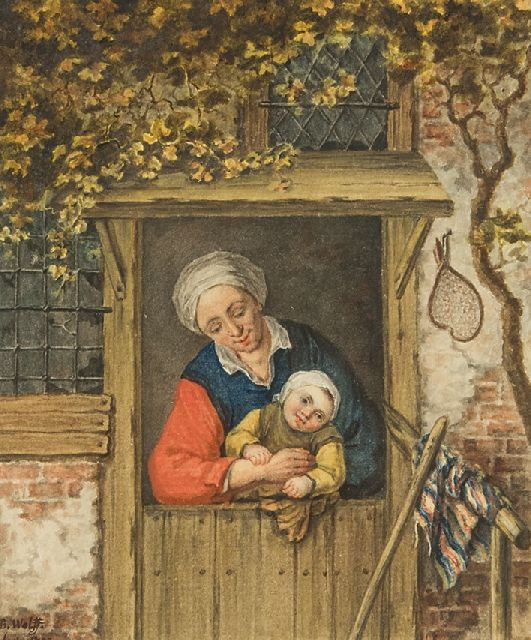 Wolff B.  | A farmer's wife with her child in a doorway, watercolour on paper 14.2 x 12.3 cm, signed l.l. and dated 1793