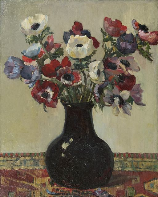 Groen H.P.  | Anemones, oil on canvas laid down on panel 51.0 x 41.0 cm, signed l.r.