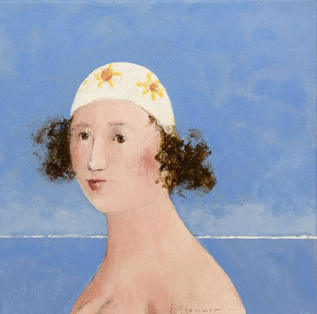 Evert van Hemert | The bathing cap, acrylic on canvas, 40.0 x 40.0 cm, signed l.r. and dated '12