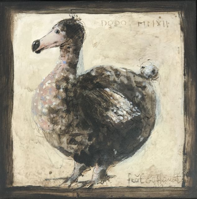 Evert van Hemert | Dodo, acrylic on board, 20.0 x 20.0 cm, signed l.r. and dated MMXII