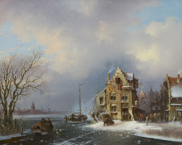 Stok J. van der | A busy day in an town on a frozen river, oil on canvas 40.8 x 50.6 cm, signed l.r. and dated '59