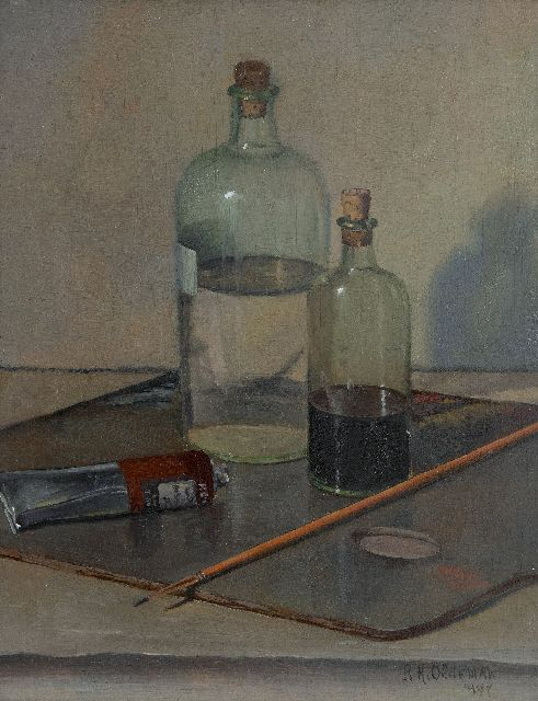 Oldeman R.H.  | A painters utensils, oil on panel 32.0 x 25.4 cm, signed l.r. and dated 1948