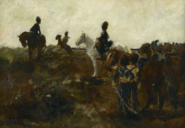 George Hendrik Breitner | Dutch artillerymen on their horses, oil on panel, 30.5 x 43.3 cm, signed l.l. and painted ca. 1897-1903