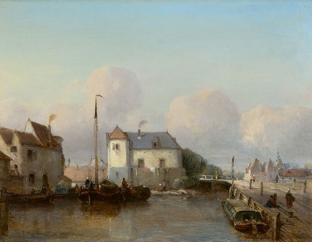 Johannes Bosboom | A Dutch inner harbour, oil on panel, 24.8 x 31.7 cm, signed l.l. and dated 1835