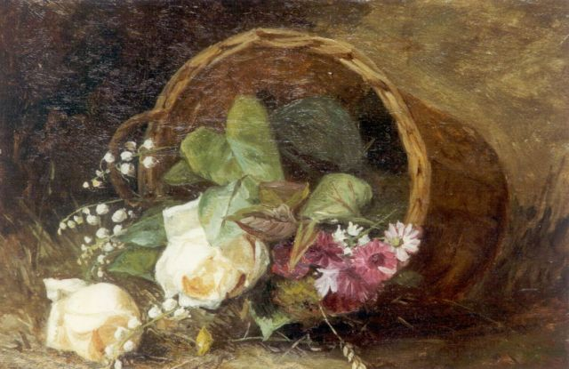 Helena Maria van Borselen | A flower basket, oil on panel, 23.5 x 34.2 cm