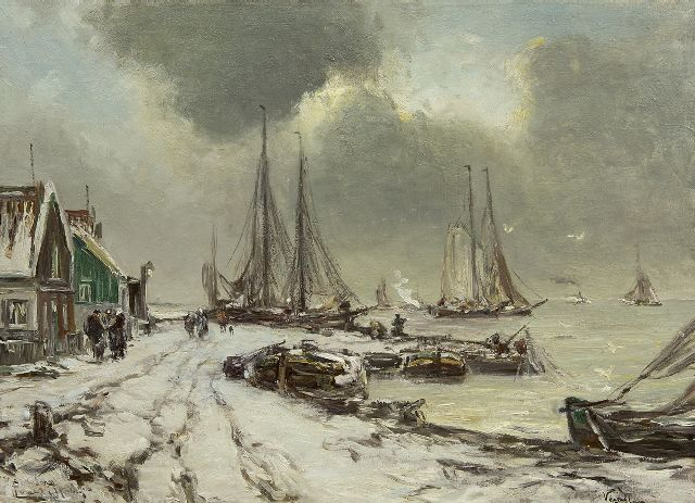 Louis Apol | Winter at Volendam, oil on canvas, 55.3 x 75.3 cm, signed l.l.