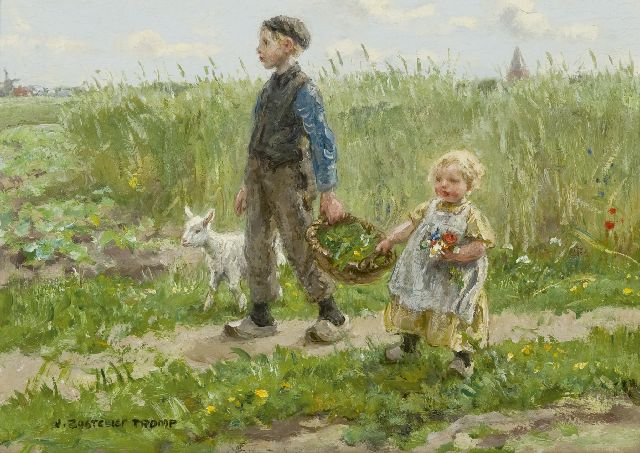Jan Zoetelief Tromp | Children walking through the cornfields at Blaricum, oil on panel, 24.3 x 33.8 cm, signed l.l.