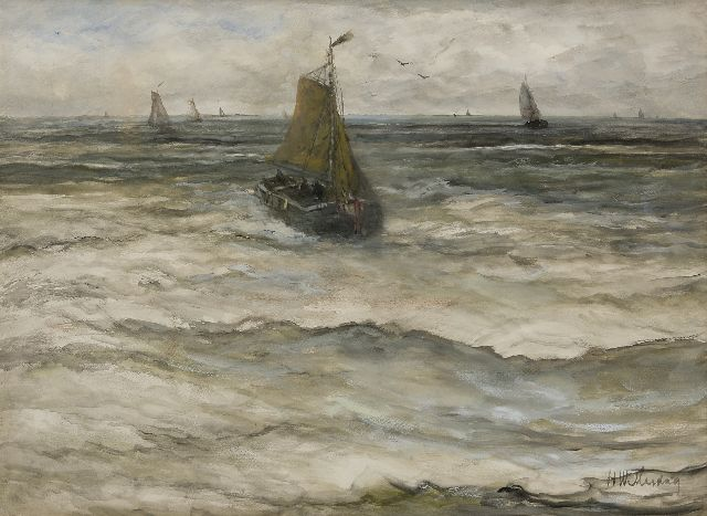 Hendrik Willem Mesdag | Returning fishing boat, watercolour on paper, 53.0 x 73.5 cm, signed l.r.