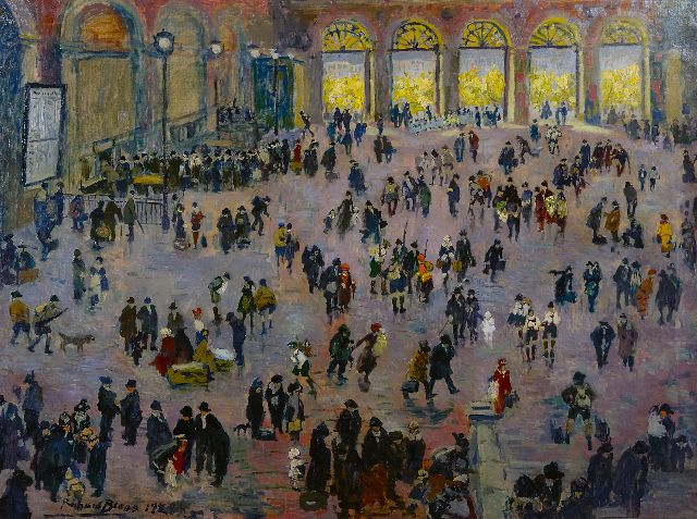 Richard Bloos | Rush hour in the 'Südbahnhof', Vienna, oil on canvas, 90.3 x 118.2 cm, signed l.l. and dated 1929