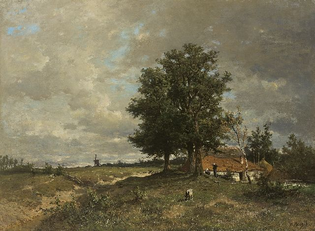 Anton Mauve | Summer landscape with a farm and windmill, oil on canvas, 75.0 x 101.7 cm, signed l.r. and painted ca. 1870