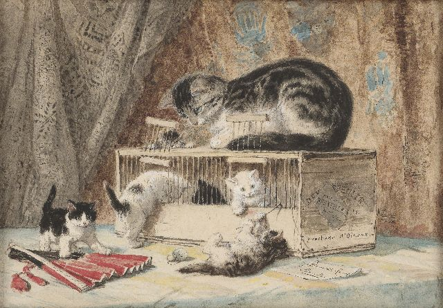 Henriette Ronner-Knip | A cat and kittens playing with a birds cage, watercolour on paper, 30.2 x 43.9 cm, signed l.r. on a painted label
