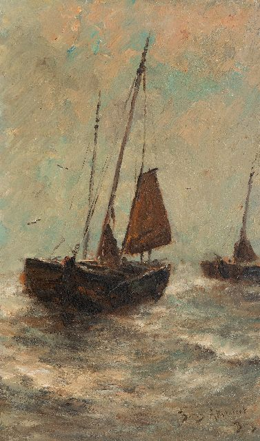 Berg B.R.  | Fishing vessels in the surf, Scheveningen, oil on canvas 50.3 x 30.3 cm, signed l.r. and on a label on the stretcher and painted ca. 1885-1888