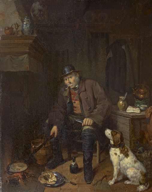 Johannes Antonius Canta | An interior with a hunter and his dog, oil on panel, 58.8 x 47.3 cm, signed c.r. on the table edge