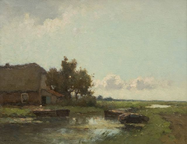 Knikker A.  | Moored barges by a farm, oil on canvas 32.3 x 41.1 cm, signed l.l.