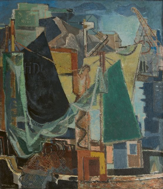 Wim Bosma | A harbour, oil on canvas, 109.8 x 95.2 cm, signed l.l. and dated 1955