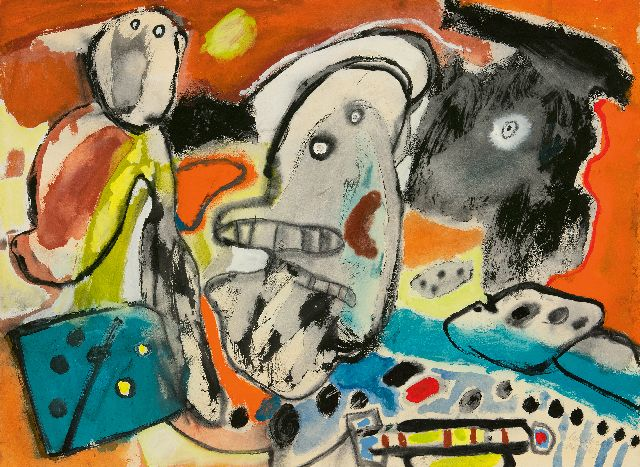 Lucebert | Composition with figures, gouache on paper, 54.8 x 74.5 cm, signed l.r. and dated 'mrt '63'