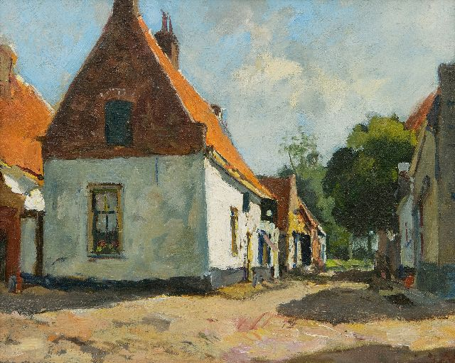 Vuuren J. van | A sunlit village street, oil on canvas 24.1 x 30.1 cm, signed l.r.