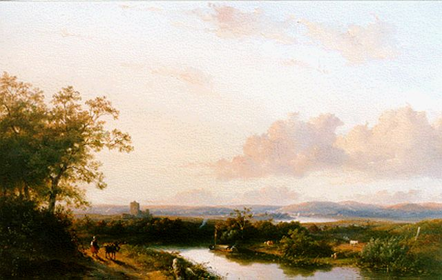 Josephus Gerardus Hans | A panoramic river landscape, oil on panel, 43.5 x 60.5 cm, signed l.l. and dated '47