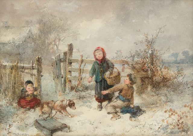 Kate J.M.H. ten | Children playing in the snow, watercolour on paper 25.7 x 35.9 cm, signed l.l.