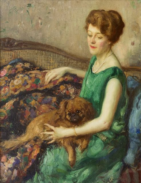 Fernand Toussaint | Lady in a green dress, oil on canvas, 73.4 x 56.7 cm, signed l.r.