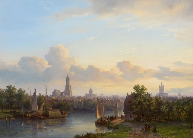 Lodewijk Johannes Kleijn | A Panoramic View of Delft, oil on panel, 43.5 x 60.7 cm, signed l.r.