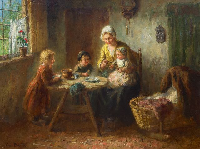 Bouter C.W.  | Interior with mother and children, oil on canvas 75.1 x 99.9 cm, signed l.l.