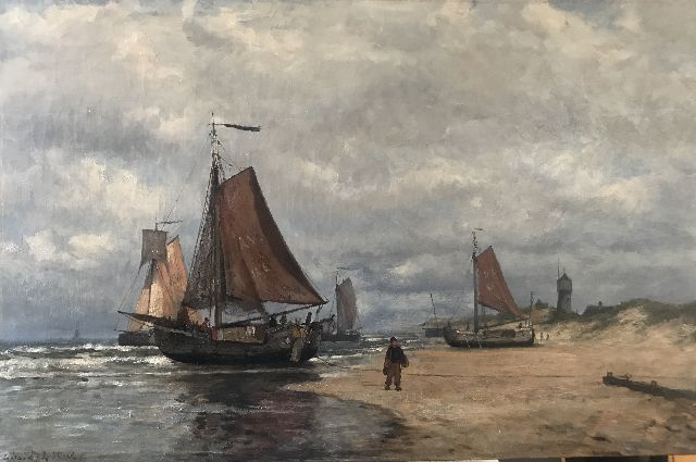 Gerard Koekkoek | Fishing vessels the beach of Katwijk, oil on canvas, 52.5 x 79.5 cm, signed l.l.