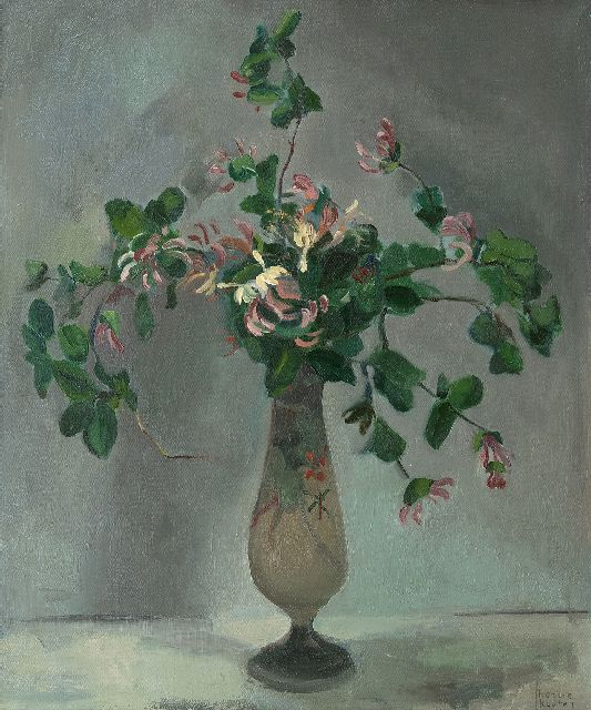Harrie Kuijten | Honeysuckle in a vase, oil on canvas, 66.4 x 55.5 cm, signed l.r.