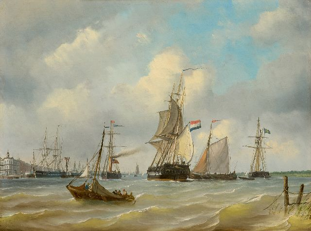 Petrus Paulus Schiedges | Shipping near the Willemskade in Rotterdam, the building of the Royal Yachtclub (now Wereldmuseum) in the distance, oil on panel, 39.9 x 53.2 cm, signed l.r. and dated 1869