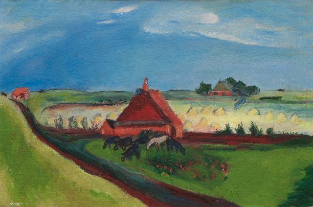 Jan Wiegers | A polder landscape with seawall, Groningen, wax paint on canvas, 53.0 x 80.3 cm, signed l.l. and painted ca. 1930-1933