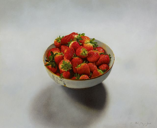 Elst W.  | Strawberries in a bowl, oil on panel 33.0 x 40.0 cm, signed l.r. and dated 2008