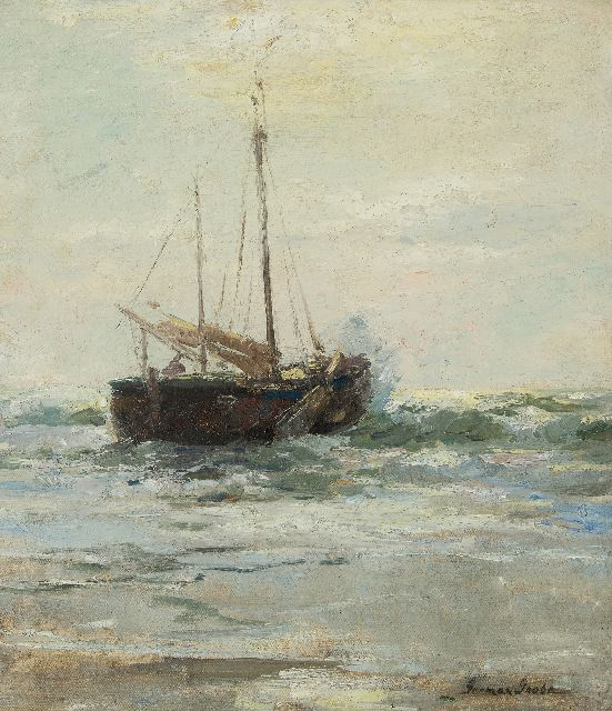 German Grobe | A fishing vesselin the surf, Katwijk, oil on canvas laid down on panel, 46.4 x 40.5 cm, signed l.r.