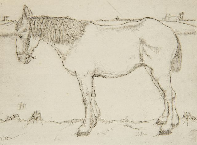 Jan Mankes | Standing horse, etching on paper, 11.7 x 15.8 cm, signed c.l. with monogram in the plate and executed in 1917