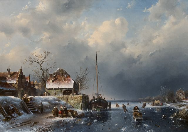 Leickert C.H.J.  | A winter scene with skaters and a fishing ship stuck in the ice, oil on canvas 60.4 x 84.8 cm, signed l.r. and dated '56