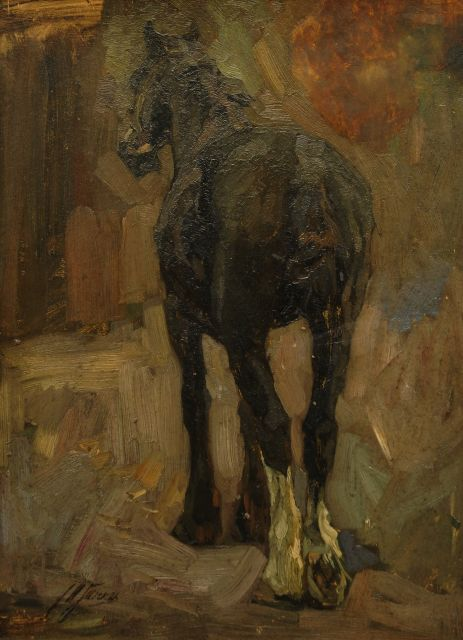Johannes Hendricus Jurres | A horse resting, oil on board, 63.9 x 46.6 cm, signed l.l.