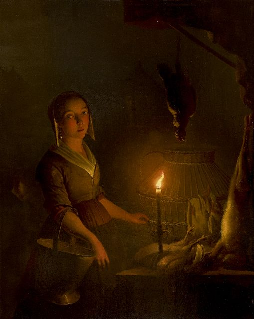 Petrus van Schendel | Maid at a poultry stall, oil on panel, 39.8 x 32.7 cm, executed ca. 1845-1850
