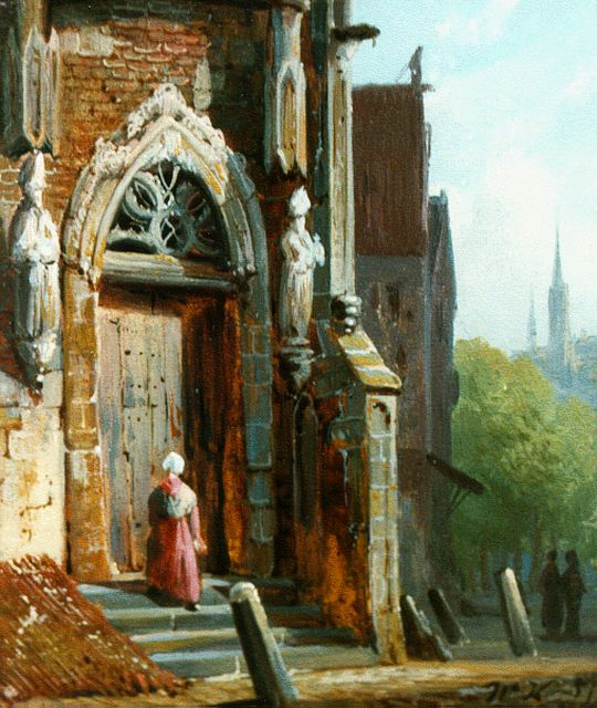 Willem Koekkoek | Churchgoing, oil on panel, 10.6 x 8.9 cm, signed l.r. with monogram and dated '57
