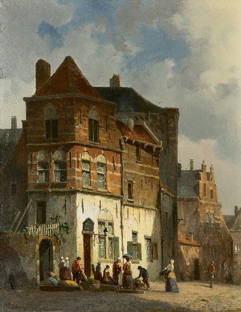 Adrianus Eversen | A town view with vegetablesellers, oil on panel, 27.4 x 21.3 cm, signed l.l.