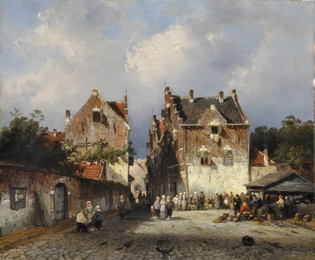Charles Leickert | A town view with a vegetable and fish market, oil on panel, 27.6 x 33.0 cm, signed l.r. and painted ca. 1855